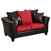 Riverstone Victory Lane Microfiber Sofa Set - Black and Cardinal - FLSH-RS-4170-04LS-SET-GG