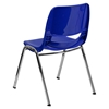 "Hercules Series 14"" Shell Stack Chair - Chrome Frame, Navy - FLSH-RUT-14-NVY-CHR-GG"