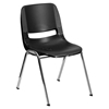 "Hercules Series 16"" Shell Stack Chair - Chrome Frame, Black - FLSH-RUT-16-BK-CHR-GG"