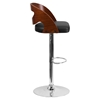Adjustable Height Barstool - Cutout Back, Walnut Bentwood, Black Seat - FLSH-SD-2168-WAL-GG