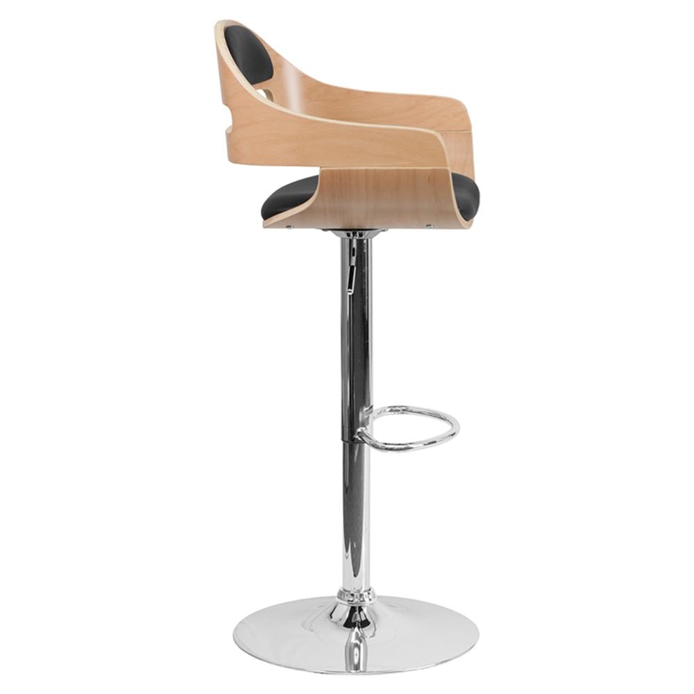 Adjustable Height Barstool Black Seat Cutout Padded