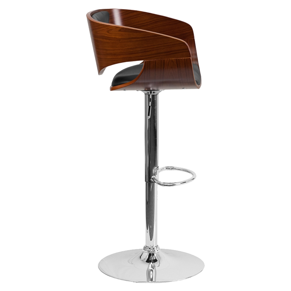 Adjustable Height Barstool Black Upholstery Walnut