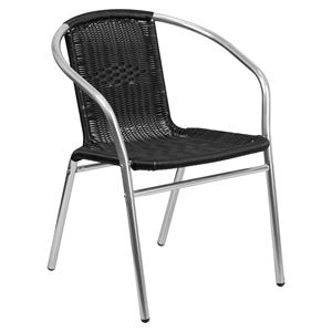 Stack Chair - Aluminum, Black Rattan