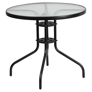 "31.5"" Round Bistro Table - Black, Tempered Glass Top"