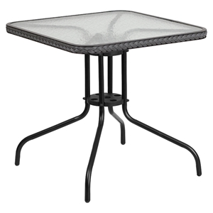 "28"" Square Metal Table - Glass Top, Gray Rattan Edging, Black"