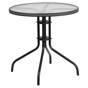 "28"" Round Metal Table - Glass Top, Gray Rattan Edging, Black"
