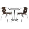 "3 Pieces 23.5"" Round Dining Set - Aluminum, Dark Brown, Rattan Chairs - FLSH-TLH-ALUM-24RD-020CHR2-GG"