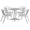 "5 Pieces 23.5"" Square Dining Set - Aluminum, Slat Chairs - FLSH-TLH-ALUM-24SQ-017BCHR4-GG"