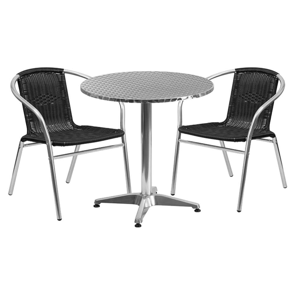 27 5 round bistro table aluminum dcg stores. Black Bedroom Furniture Sets. Home Design Ideas