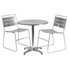 "3 Pieces 27.5"" Round Dining Set - Aluminum, Silver - FLSH-TLH-ALUM-28RD-HA1SIL2-GG"