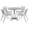 "5 Pieces 31.5"" Round Dining Set - Aluminum, Slat Chairs - FLSH-TLH-ALUM-32RD-017BCHR4-GG"