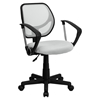 Swivel Task Chair - Low Back Arms, White - FLSH-WA-3074-WHT-A-GG