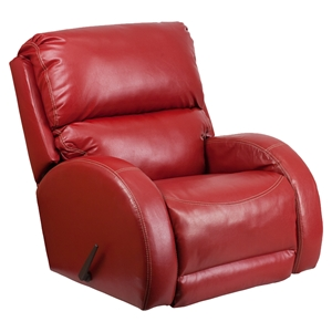 Ty Leather Rocker Recliner - Red