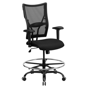Hercules Series Big and Tall Drafting Chair - Height Adjustable Arms, Black
