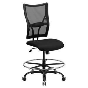 Hercules Series Big and Tall Drafting Chair - Black