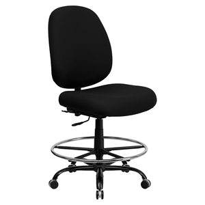 Hercules Series Big and Tall Drafting Chair - Extra Wide Seat, Black Fabric