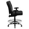 Hercules Series Big and Tall Drafting Chair - Extra Wide Seat, Black - FLSH-WL-735SYG-BK-LEA-AD-GG