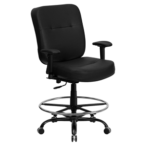 Hercules Series Big and Tall Drafting Chair - Extra Wide Seat, Black