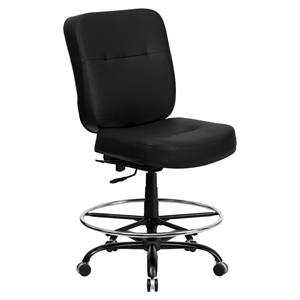Hercules Series Big and Tall Drafting Chair - Black, Leather