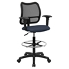 Groovy Mid Back Mesh Drafting Chair Swivel Navy Height Adjustable Arms Machost Co Dining Chair Design Ideas Machostcouk