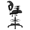 Mid Back Mesh Drafting Chair - Height Adjustable Arms, Black - FLSH-WL-A7671SYG-BK-AD-GG