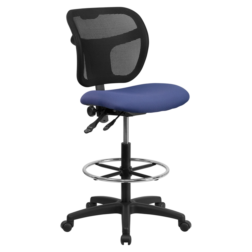 Mid Back Mesh Drafting Chair Navy Padded Seat Dcg Stores