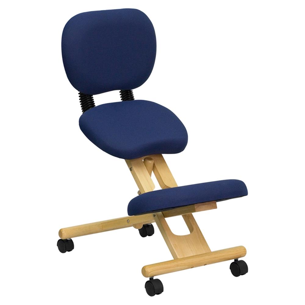 Mobile Wooden Kneeling Posture Chair Navy Blue
