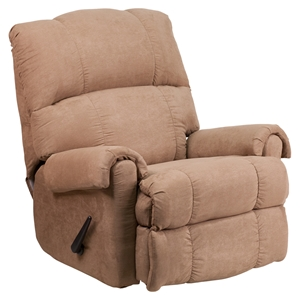 Victory Lane Fabric Recliner - Taupe, Rocker