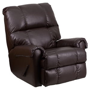 Ty Leather Recliner with Rolled Arms - Chocolate, Rocker