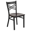 Hercules Series Dining Chair - Black, Walnut Wood Seat, X-Back