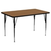 "24"" x 48"" Activity Table - Adjustable Legs, Oak Thermal Fused Top - FLSH-XU-A2448-REC-OAK-T-A-GG"