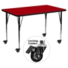"Mobile 24"" x 48"" Activity Table - Red Thermal Fused Top, Adjustable Legs - FLSH-XU-A2448-REC-RED-T-A-CAS-GG"