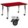 "Mobile 24"" x 48"" Preschool Activity Table - Red Thermal Fused Top, Adjustable Legs - FLSH-XU-A2448-REC-RED-T-P-CAS-GG"