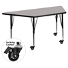 "Mobile 24"" x 48"" Trapezoid Preschool Activity Table - Gray Top, Adjustable Legs - FLSH-XU-A2448-TRAP-GY-H-P-CAS-GG"