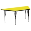 "24"" x 48"" Trapezoid Preschool Activity Table - Yellow Top, Adjustable Legs - FLSH-XU-A2448-TRAP-YEL-H-P-GG"