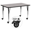 "Mobile 24"" x 60"" Activity Table - Gray Top, Adjustable Legs - FLSH-XU-A2460-REC-GY-H-A-CAS-GG"