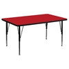 "30"" x 48"" Preschool Activity Table - Red Top, Adjustable Legs - FLSH-XU-A3048-REC-RED-H-P-GG"
