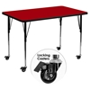 "Mobile 30"" x 48"" Activity Table - Red Thermal Fused Top, Adjustable Legs - FLSH-XU-A3048-REC-RED-T-A-CAS-GG"