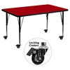 "Mobile 30"" x 48"" Preschool Activity Table - Adjustable Legs, Red Thermal Fused Top - FLSH-XU-A3048-REC-RED-T-P-CAS-GG"