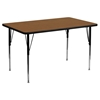 "30"" x 60"" Activity Table - Adjustable Legs, Oak Top - FLSH-XU-A3060-REC-OAK-H-A-GG"