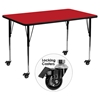 "Mobile 30"" x 60"" Activity Table - Red Top, Adjustable Legs - FLSH-XU-A3060-REC-RED-H-A-CAS-GG"