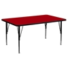 "30"" x 60"" Preschool Activity Table - Adjustable Legs, Red Thermal Fused Top - FLSH-XU-A3060-REC-RED-T-P-GG"