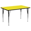 "30"" x 60"" Activity Table - Adjustable Legs, Yellow Top - FLSH-XU-A3060-REC-YEL-H-A-GG"