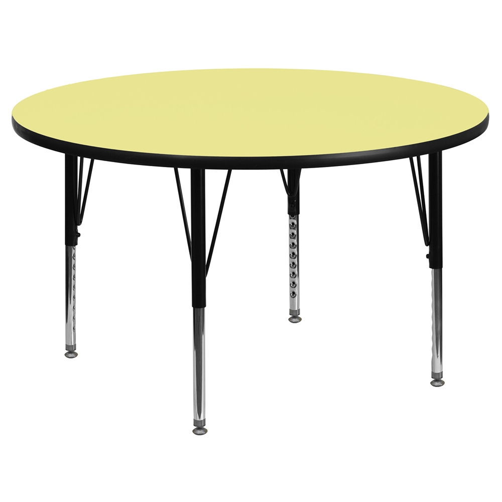 42 Round Preschool Activity Table Yellow Thermal Fused Top Adjustabl