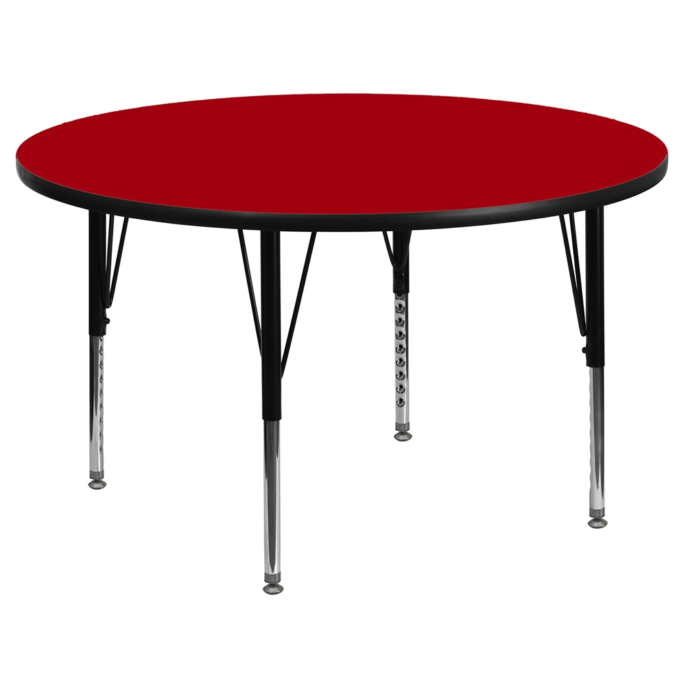 48 Round Preschool Activity Table Red Thermal Fused Top Adjustable L