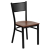 Hercules Series Metal Restaurant Chair - Black, Cherry Seat, Grid Back - FLSH-XU-DG-60115-GRD-CHYW-GG