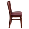Lacey Series Wooden Side Chair - Burgundy Seat, Mahogany, Solid Back - FLSH-XU-DG-W0094B-MAH-BURV-GG