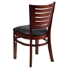 Darby Series Wooden Side Chair - Black Seat, Mahogany Frame, Slat Back - FLSH-XU-DG-W0108-MAH-BLKV-GG