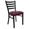 Hercules Series Metal Restaurant Chair - Black, Burgundy, Ladder Back - FLSH-XU-DG694BLAD-BURV-GG
