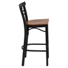 Hercules Series Metal Restaurant Barstool - Cherry, Black, Ladder Back - FLSH-XU-DG6R9BLAD-BAR-CHYW-GG